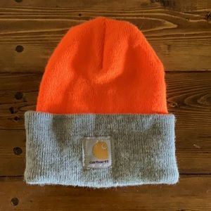 Carhartt Blaze Orange and Gray Two-Tone Beanie
